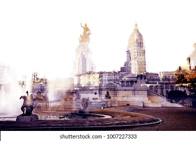 Double exposure made building of Congress and the fountain in Buenos Aires, Argentina