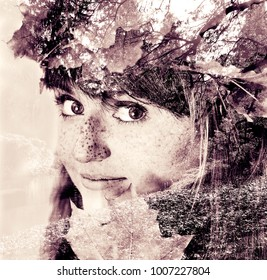 Double exposure made woman and branches with leaves.