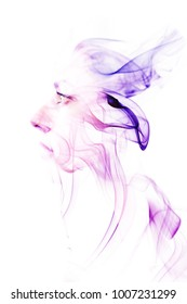Double exposure made woman with color waves of smoke.