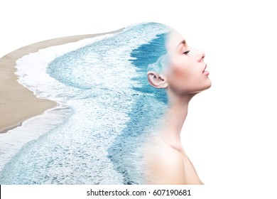 Double exposure made of young nude beautiful woman with healthy skin and ocean coast. Beauty of woman, healthy skin, water balance, inner harmon concept. Place for text.