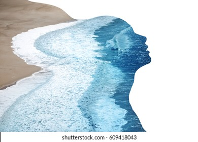 Double exposure made of young nude beautiful woman with healthy skin and ocean coast. Beauty of woman, healthy skin, water balance, harmony concept. Place for text.