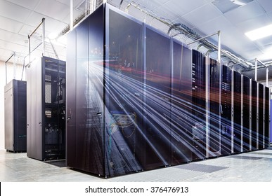double exposure mainframe room with road traffic