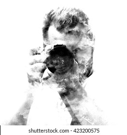 Double exposure male photographer looking at the camera, black and white silhouette.