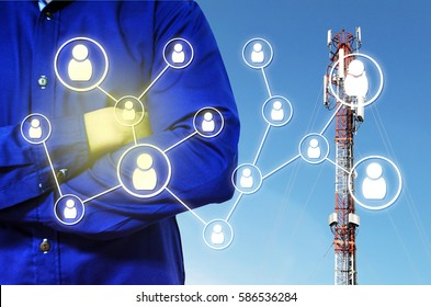 double exposure of man crossing arms and icon social media concept on telecommunication pole in blue sky as background, color tone effect.