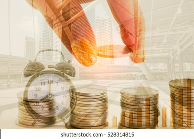Double exposure of man fingers stacking coin and clock with modern city background, Finance and banking concept