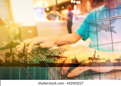 Double Exposure of Man with Laptop computer in Food Plaza or Coffee shop and Transportation Scene, airplane, Port with Power Crane.
