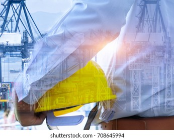Double exposure man survey and civil engineer stand on ground working in a land building site over Blurred construction worker on construction site. examination, inspection, survey