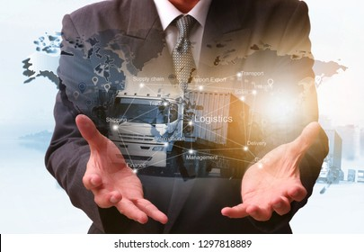 Double exposure of man with Transportation, import-export and logistics concept