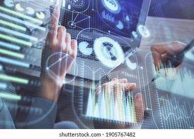 Double exposure of man and woman working together and technology theme drawing hologram. Big data concept. Computer background.
