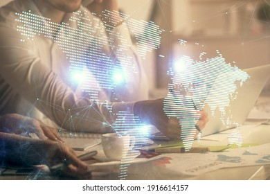 Double exposure of man and woman working together and social network theme hologram drawing. People connection concept. Computer background.