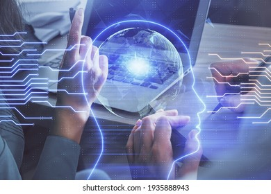 Double exposure of man and woman working together and brain drawing hologram. Intellectual brainstorming concept. Computer background.