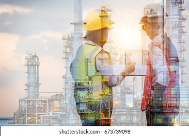 Double exposure of manager and engineer working with safety helmet with oil refinery industry plant background