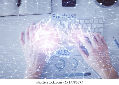 Double exposure of man's hands typing over computer keyboard and brain hologram drawing. Top view. Ai and data technology concept.