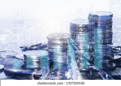 double exposure many coins stack with growth graph and chart and city background. business financial banking and money saving concept.