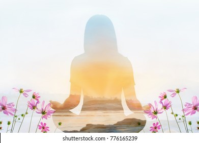 Double exposure of meditation yoga pose and cosmos flower field on sky background with find peace of life concept