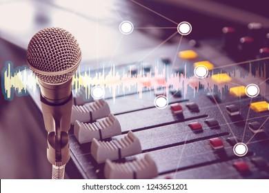 Double Exposure Microphones and Mixers in Record Studio.