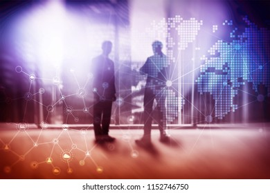 Double exposure mixed media. Diagrams, icons and relations structure on hologram screen. Business people and modern city on background.
