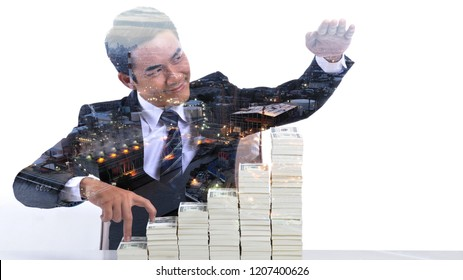 Double exposure mode : Young business people smile happily with higher financial results and stocks.