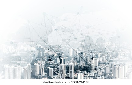 Double exposure of modern cityscape view with digital media interface of networking structure. Wallpaper, backdrop with copyspace.