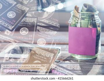 Double exposure. money background