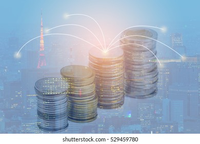 Double exposure money coin on city background. Business invest and financial capital city concept.