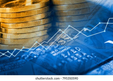 double exposure money coins on trading graph and credit card background