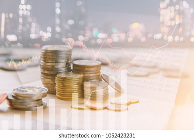 Double exposure of Money coins stack, book bank, graph  finance, Finance concept