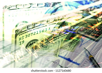 Double exposure of money investment and stock graph of stock market