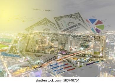 Double exposure of Money savings, finances and economy concept.