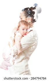 double exposure . mother hugging baby on the background of trees and clouds. dramatic story . image for background and texture