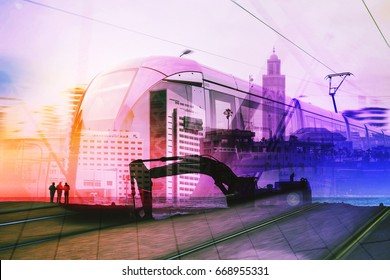 double exposure of multi-colored images of Casablanca - Morocco