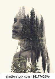 Double exposure mystery head portrait of young woman combined with forest lake background. Conceptual image showing depression, loneliness, negative emotions. Isolated on white