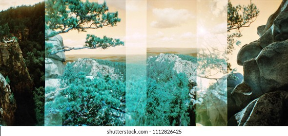 Double exposure natural landscape in distorted color. Vintage blurred analog photography with grain, dust and noise. Film photo in style lomography.