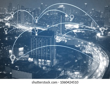 double exposure of network and city  and network connection concept.Internet data connection. - Shutterstock ID 1060424510