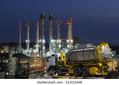 Double exposure of oil spill vacuum truck  and oil refinery plant . Hazard emergency response concept .