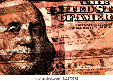 Double exposure one hundred dollar bill and US treasury savings bond - Finance and government concept