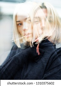 Double exposure outdoor female portrait. Fashion model. Portrait of young woman. Beautiful caucasian girl with blond hair.