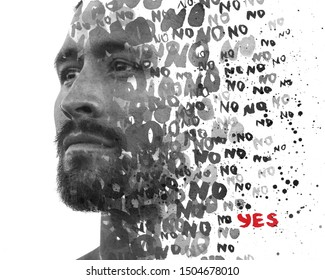 Double exposure. Paintography. Positive YES message hidden amongst repeating NOs, all dissolving into young man's close up portrait - Shutterstock ID 1504678010