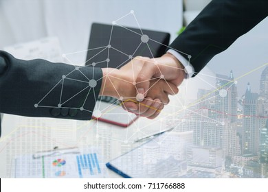Double exposure partners business handshake and connection social graphics ,business handshake and collaboration of partners and sponsors who are faithful.business people co-working teamwork concept