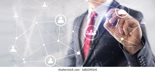 Double exposure people network structure HR - Human resources management and recruitment concept. - Shutterstock ID 1682290141