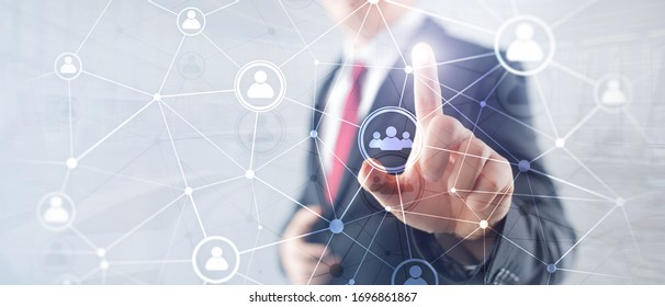 Double exposure people network structure HR - Human resources management and recruitment concept.