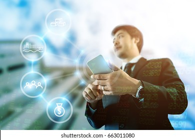 Double exposure photo of Asian Businessman touch smartphone on imagine of corporate growth