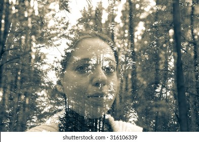Double exposure photo of beautiful girl and forest
