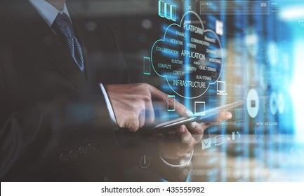 double exposure photo of businessman hand using tablet computer and server room background