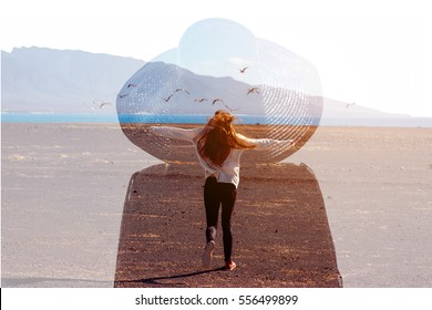 Double exposure photo with female silhouette and woman running on the deserted landscape. Freedom and travel concept