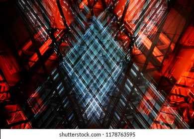 Double exposure photo of an office building fragment with colorful glass walls. Abstract modern architecture with transparent structural glazing. Hi-tech product of construction industry.