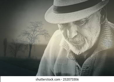 Double exposure photo of old senior man in depression