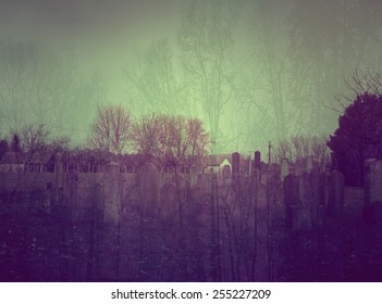 Double exposure photo of spooky cemetery