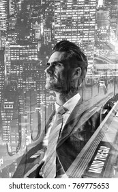 double exposure picture of a businessman with urban street scene and train station