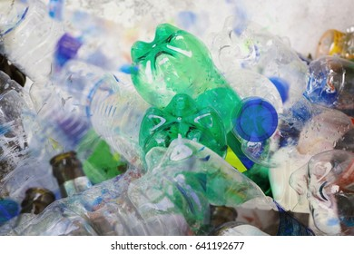 Double exposure Plastic bottle for background, Recycle waste concept.
